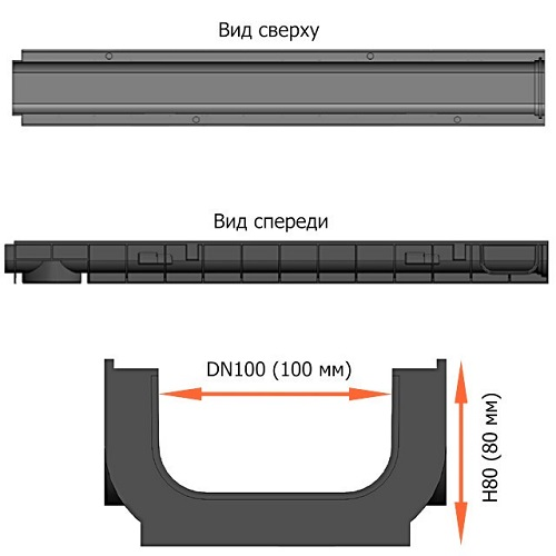 Лоток водоотводной 80 мм с чугунной решеткой в комплекте DN100