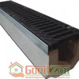 Лоток бетонный водоотводной 185 мм с чугунной решеткой в комплекте
