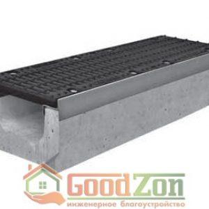 Лоток бетонный водоотводной 230 мм с чугунной решеткой в комплекте