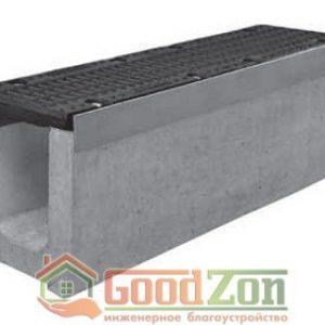Лоток бетонный водоотводной 310 мм с чугунной решеткой в комплекте