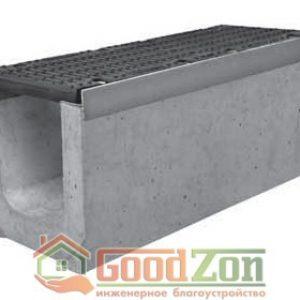 Лоток бетонный водоотводной 360 мм с чугунной решеткой в комплекте