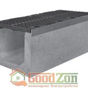 Лоток бетонный водоотводной 410 мм с чугунной решеткой