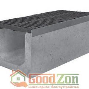Лоток бетонный водоотводной 610 мм с чугунной решеткой в комплекте